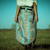 Одежда handmade. Livemaster - original item Long Blue Skirt with Ornaments «Blue Ice». Handmade.