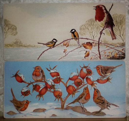 """Кухня ручной работы. Ярмарка Мастеров - ручная работа. Купить """"Зимние птички"""" Разделочная доска панно. Handmade. Комбинированный, птички"""