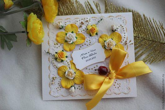Свадебные открытки ручной работы. Ярмарка Мастеров - ручная работа. Купить Желто-золотая осень. Handmade. Осень, золотой цвет