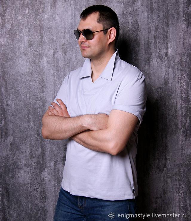 Grey men's V-neck t-shirt, collared t-shirt, T-shirts mens shirts, Novosibirsk,  Фото №1
