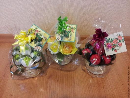 Персональные подарки ручной работы. Ярмарка Мастеров - ручная работа. Купить Мини корзиночки с весенними цветами. Handmade. Разноцветный, корзинка