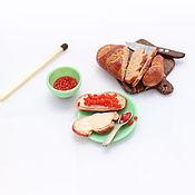 Куклы и игрушки ручной работы. Ярмарка Мастеров - ручная работа Миниатюрный набор еды из полимерной глины, масштаб 1:12. Handmade.