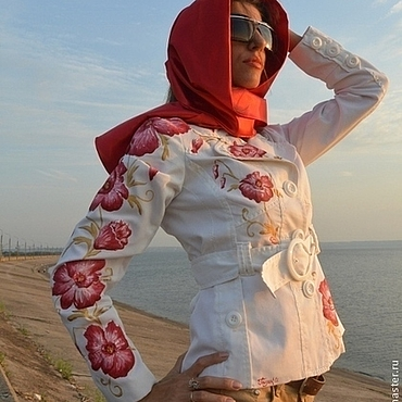"""Одежда ручной работы. Ярмарка Мастеров - ручная работа Куртка-пиджак""""Маки""""с ручной росписью. Handmade."""