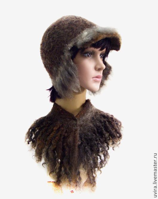 """Шапки ручной работы. Ярмарка Мастеров - ручная работа. Купить """"Женька""""шапка-ушанка - авторский войлок. Handmade. Коричневый, зима"""