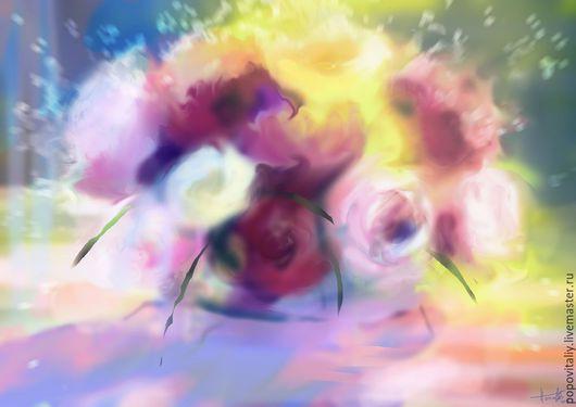 Картины цветов ручной работы. Ярмарка Мастеров - ручная работа. Купить Розы №5 Цифровая живопись. Натюрморт с цветами. Handmade.