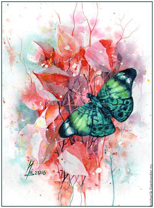 Животные ручной работы. Ярмарка Мастеров - ручная работа. Купить Изумрудная бабочка. Handmade. Комбинированный, картина, акварельная бумага, акварель