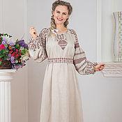 Русский стиль handmade. Livemaster - original item Traditional linen dress Makosh in Russian style. Handmade.