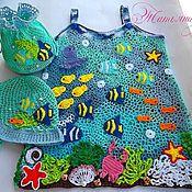 """Работы для детей, ручной работы. Ярмарка Мастеров - ручная работа Комплект""""В синем-синем море..""""(сарафан,панамка,сумочка). Handmade."""