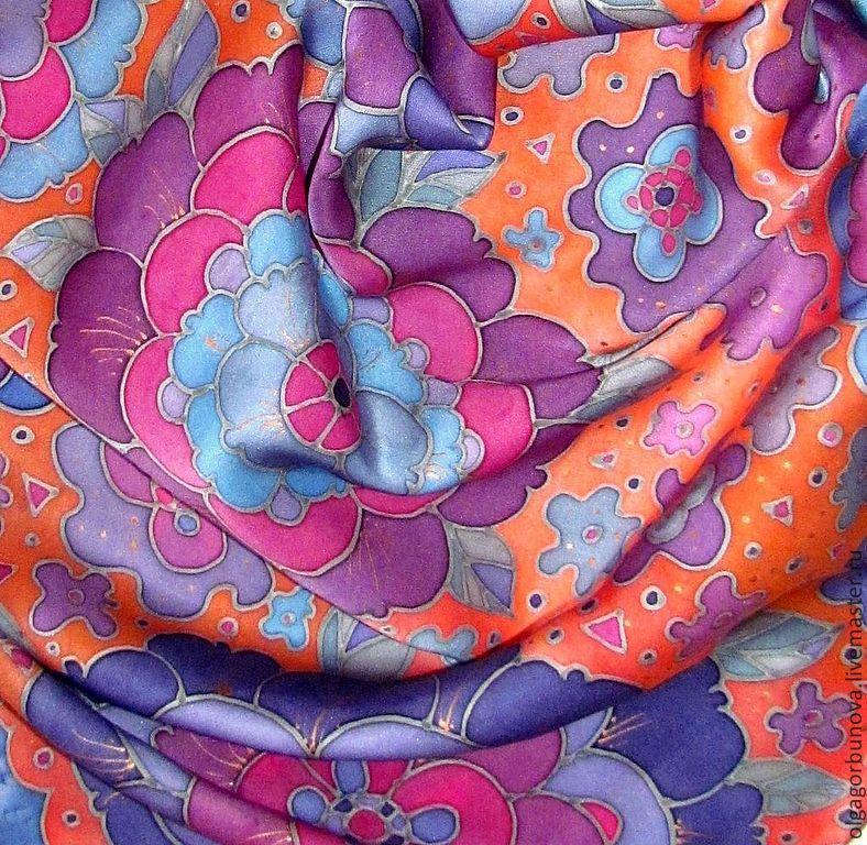 Silk batik scarf, batik scarf, silk scarf, neckerchief, handkerchief painted flower batik scarf, batik scarf, batik scarves, batik scarves, silk scarf hand painted.