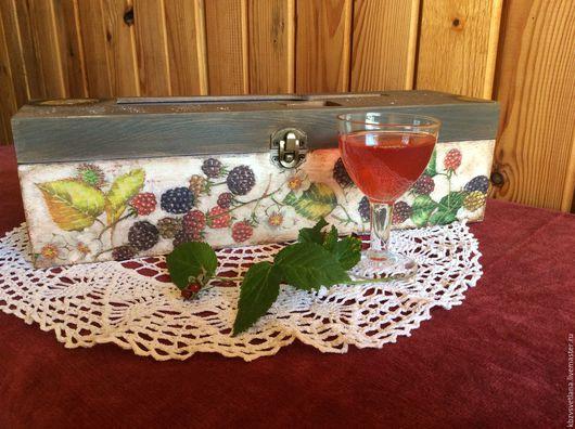 """Корзины, коробы ручной работы. Ярмарка Мастеров - ручная работа. Купить Короб для вина """" Ежевичное вино """". Handmade."""