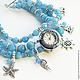 """Часы ручной работы. Ярмарка Мастеров - ручная работа. Купить """"На голубых волнах""""  - часы-браслет. Handmade. Голубой"""
