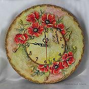 """Для дома и интерьера ручной работы. Ярмарка Мастеров - ручная работа Объемные часы """"Маков цвет"""". Handmade."""