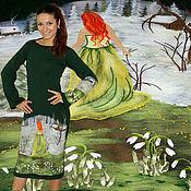 """Платья ручной работы. Ярмарка Мастеров - ручная работа Вязаное шерстяное платье с ручной вышивкой  """"Весна идёт"""". Handmade."""
