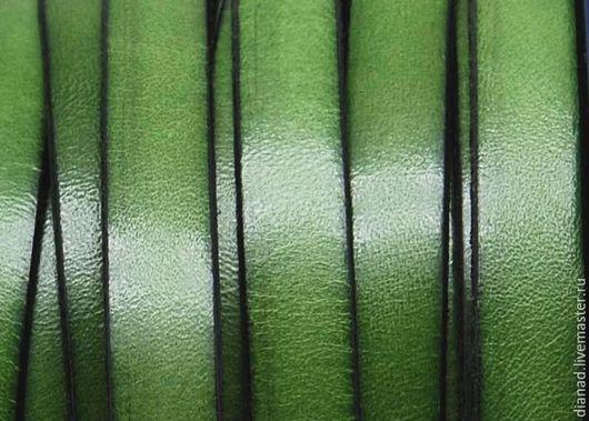 Для украшений ручной работы. Ярмарка Мастеров - ручная работа. Купить Кожаный шнур 10х2мм зеленый (салатовый). Испания. Handmade.