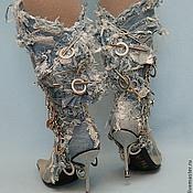 Обувь ручной работы. Ярмарка Мастеров - ручная работа Сапоги джинсовые Лохматики на шпильке. Handmade.