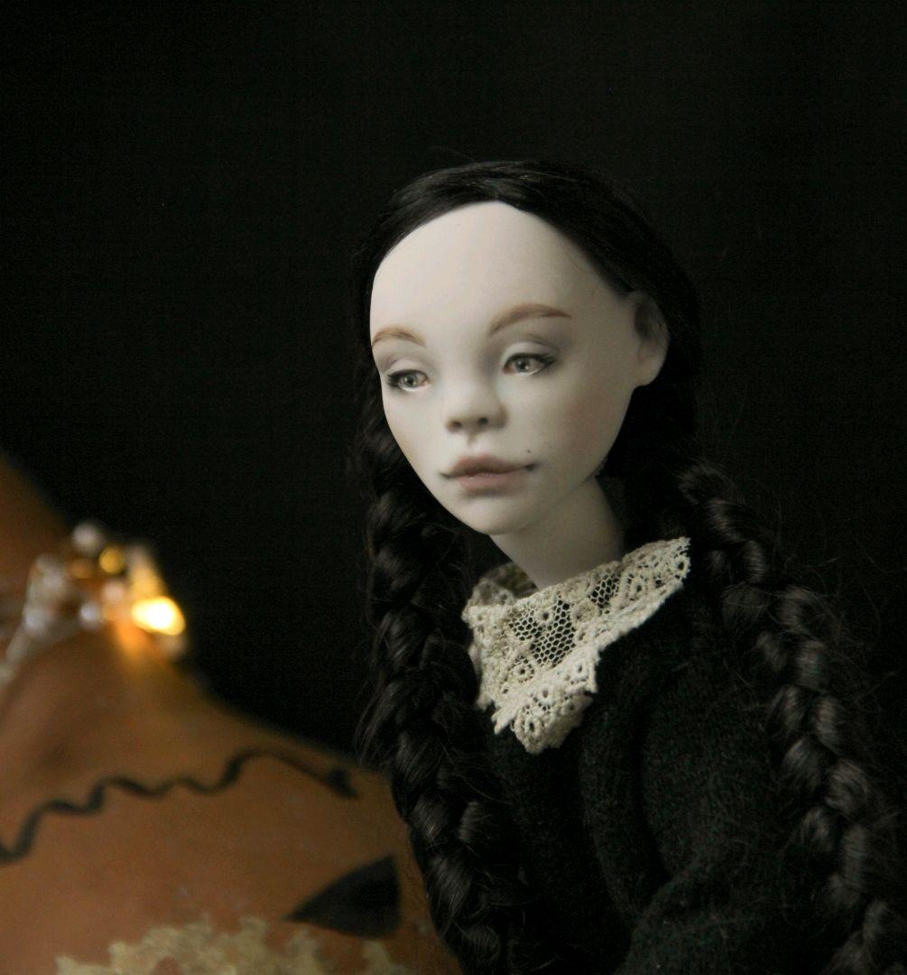 Вэнсдей Адамс. Фарфоровая шарнирная кукла, Шарнирная кукла, Красногорск,  Фото №1