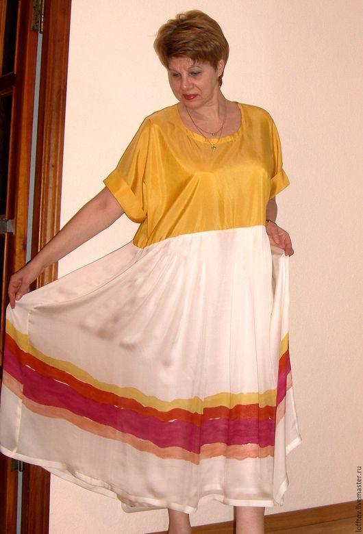 Платья ручной работы. Ярмарка Мастеров - ручная работа. Купить Платье шелковое летнее миди. Handmade. Желтый, летнее платье