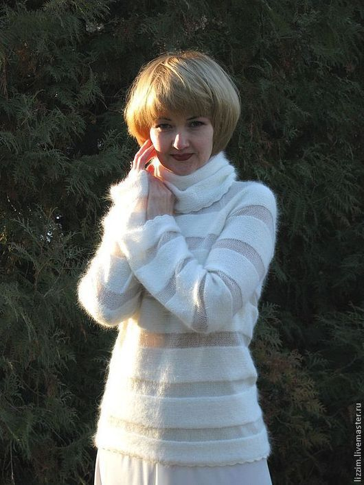 """Кофты и свитера ручной работы. Ярмарка Мастеров - ручная работа. Купить Вязаный свитер   """"Эйприл"""". Handmade. Белый, вязаный джемпер"""