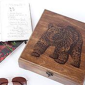 """Шкатулки ручной работы. Ярмарка Мастеров - ручная работа Шкатулка для часов мужская """"Медведь"""". Handmade."""