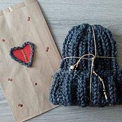 Аксессуары handmade. Livemaster - original item cap beanie knit lapel. Handmade.