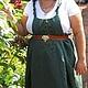 Большие размеры ручной работы. Ярмарка Мастеров - ручная работа. Купить Бохо Сарафан. Handmade. Тёмно-зелёный, лен, платье