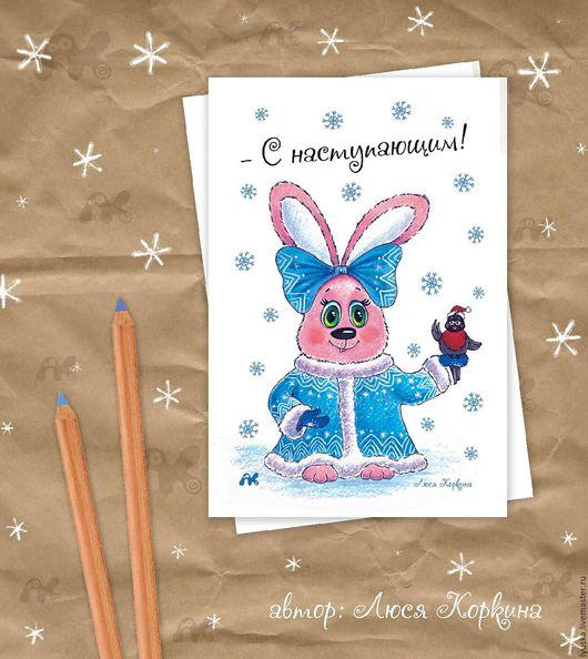 Открытки к Новому году ручной работы. Ярмарка Мастеров - ручная работа. Купить Серия авторских новогодних открыток с зайцами. Handmade.