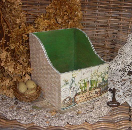 """Корзины, коробы ручной работы. Ярмарка Мастеров - ручная работа. Купить Короб """"Весенний уголок"""". Handmade. Зеленый, коробка для мелочей"""