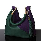 Sacks handmade. Livemaster - original item Granville Bilberry-green bag made of suede and leather hobo. Handmade.
