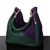 Сумка-мешок ручной работы. Ярмарка Мастеров - ручная работа Granville Чернично-зеленая сумка из замши и кожи Хобо. Handmade.