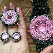 Украшения ручной работы. Ярмарка Мастеров - ручная работа Комплект  Пепел розы браслет кольцо серьги. Handmade.