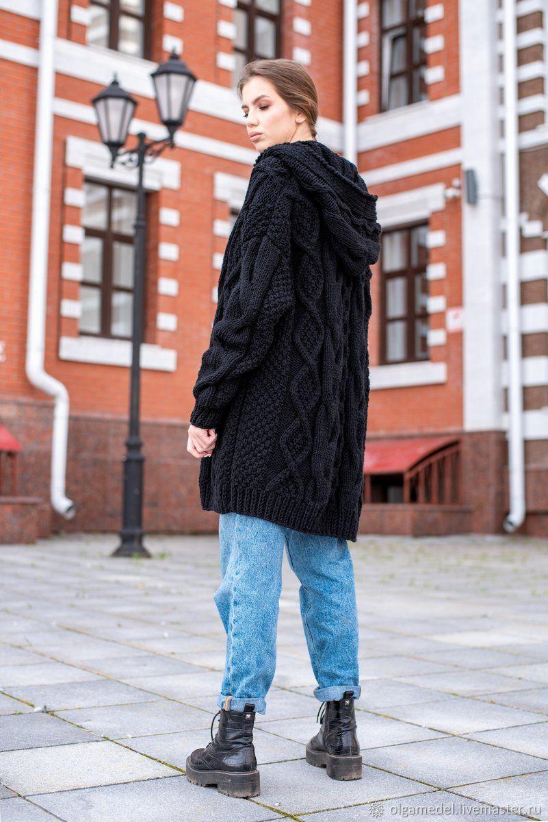 cardigans: Women's cardigan with an oversize hood in black, Cardigans, Yoshkar-Ola,  Фото №1