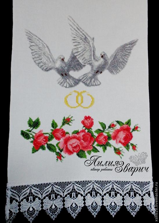 Вышивка голубей на рушник