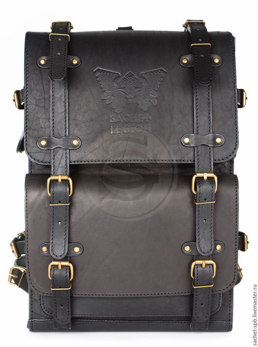 """Рюкзаки ручной работы. Ярмарка Мастеров - ручная работа. Купить Мужской кожаный рюкзак """"Легион"""" черный. Handmade. Черный"""