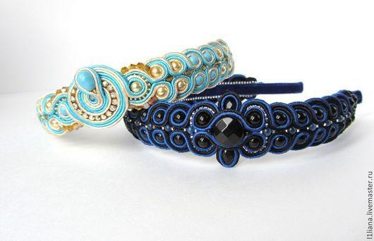Ободок сине-черный`Сумерки`продан-2500р.(можно на заказ) Ободок кремово-голубой`Морской бриз` -продан-2600р.