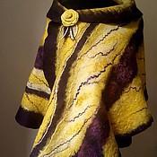 Аксессуары ручной работы. Ярмарка Мастеров - ручная работа Палантин валяный фиолетовый с желтым. Handmade.