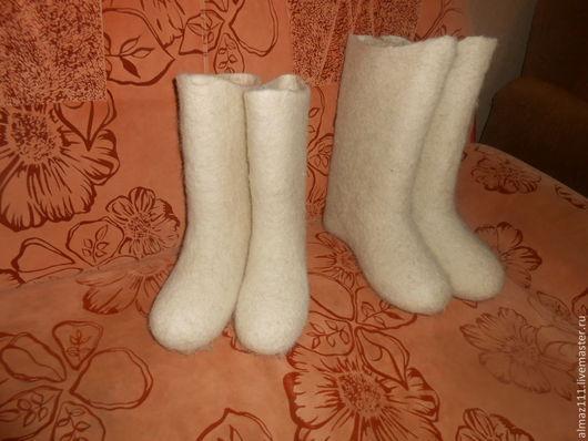 Обувь ручной работы. Ярмарка Мастеров - ручная работа. Купить белые женские валенки. Handmade. Белый, валенки ручной валки