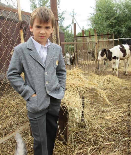Одежда для мальчиков, ручной работы. Ярмарка Мастеров - ручная работа. Купить Трикотажный пиджак. Handmade. Серый, теплый, оригинальный