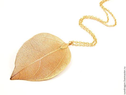 """Кулоны, подвески ручной работы. Ярмарка Мастеров - ручная работа. Купить скелетированный лист кулон """"Лист золотой"""". Handmade."""