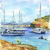 """Картины и панно ручной работы. Ярмарка Мастеров - ручная работа Акварель """"Море, солнце, яхты"""". Handmade."""
