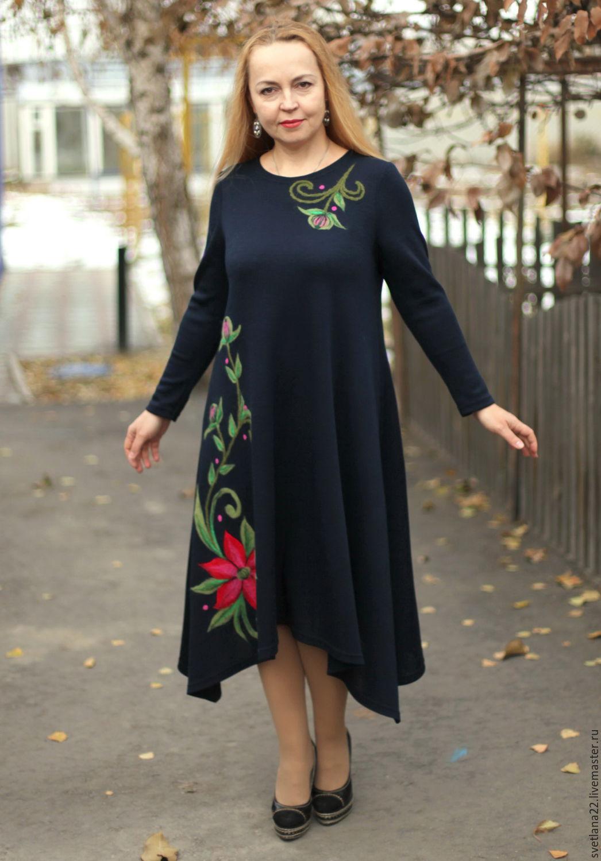 """Knitted dress """"Fabulous flowers in dark blue"""", Dresses, Pavlodar,  Фото №1"""