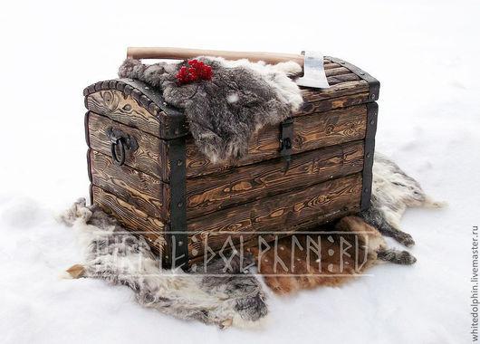 """Шкатулки ручной работы. Ярмарка Мастеров - ручная работа. Купить Сундук интерьерный """"Старина"""". Handmade. Коричневый, викинги, мебель для спальни"""