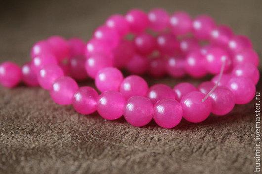 Жадеит, цвет - брусничный, розовый. Бусины жадеита 8 мм. Жадеит для создания украшений. Busimir