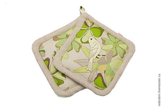"""Кухня ручной работы. Ярмарка Мастеров - ручная работа. Купить Набор прихваток """"Птички"""" (зелёные). Handmade. Подарок маме, для дачи"""