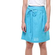Одежда handmade. Livemaster - original item Turquoise skirt with decorative ties made of 100% linen. Handmade.