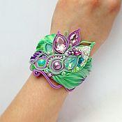 Украшения handmade. Livemaster - original item Bracelet embroidered Green purple lilak Shibori silk,pearls,soutache. Handmade.