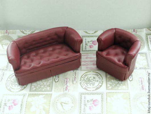 Кукольный дом ручной работы. Ярмарка Мастеров - ручная работа. Купить Набор мягкой мебели Бордовый Миниатюра 1:12. Handmade.