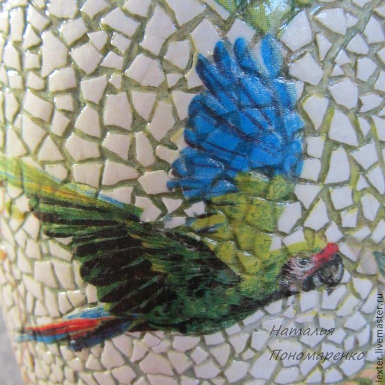 Вазы ручной работы. Стеклянная ваза  Попугаи