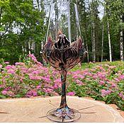 Посуда handmade. Livemaster - original item Wine glass (wineglass) inlaid with natural stones. Handmade.
