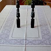 Для дома и интерьера handmade. Livemaster - original item Tablecloth holiday 12 the Kuban. White len. Embroidery. Hemstitch. Handmade.