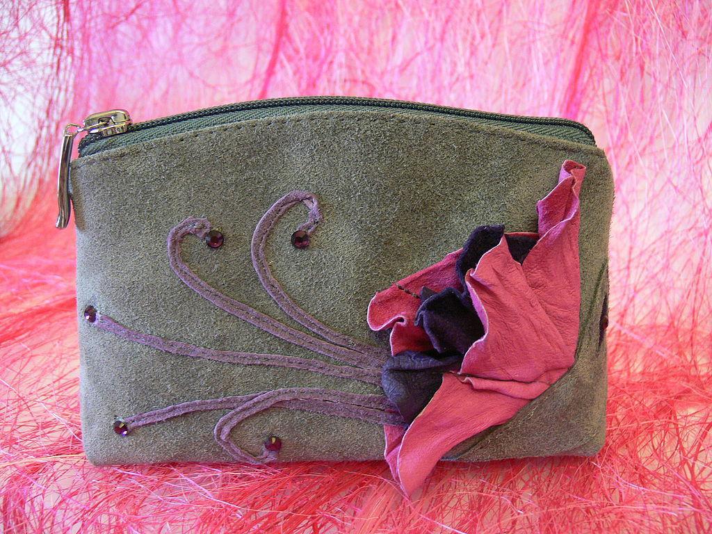 Cosmetic bag 'Fuchsia' (grey suede), Beauticians, Novosibirsk,  Фото №1